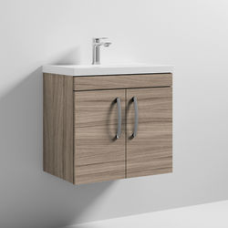 Nuie Furniture Wall Vanity Unit With 2 x Doors & Basin 600mm (Driftwood).