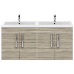 Nuie Furniture Wall Vanity Unit With 4 x Doors & Double Basin (Driftwood).