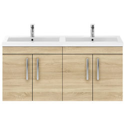 Nuie Furniture Wall Vanity Unit With 4 x Doors & Double Basin (Natural Oak).