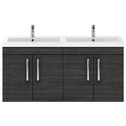 Nuie Furniture Wall Vanity Unit With 4 x Doors & Double Basin (Hacienda).