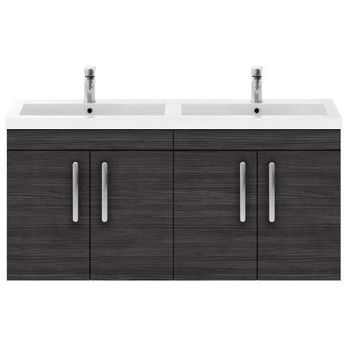 Nuie Furniture Wall Vanity Unit With 4 x Doors & Double Basin (Hacienda).