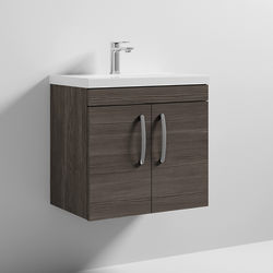 Nuie Furniture Wall Vanity Unit With 2 x Doors & Basin 600mm (Brown Grey Avola).