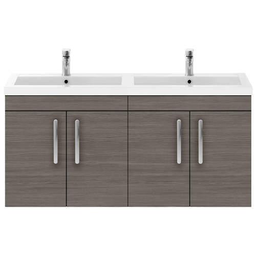Nuie Furniture Wall Vanity Unit With 4 x Doors & Double Basin (Grey Avola).