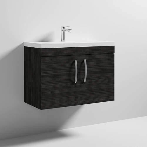 Nuie Furniture Wall Vanity Unit With 2 x Doors & Basin 800mm (Hacienda Black).