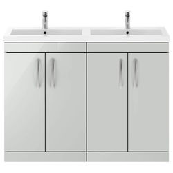 Nuie Furniture Vanity Unit With 4 x Doors & Double Basin (Gloss Grey Mist).