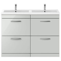 Nuie Furniture Vanity Unit With 4 x Drawers & Double Basin (Gloss Grey Mist).