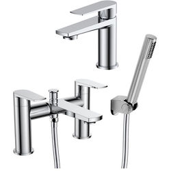 Nuie Bailey Basin & Bath Shower Mixer Tap Pack (Chrome).