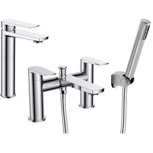 Nuie Bailey Tall Basin & Bath Shower Mixer Tap Pack (Chrome).