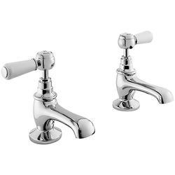 Hudson Reed Topaz Basin Taps With Ceramic Lever Handles (White & Chrome).