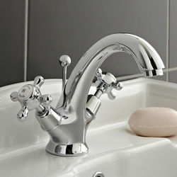 Hudson Reed Topaz Basin Mixer Tap With Crosshead Handles (White & Chrome).