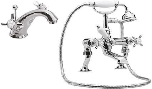 Ultra Beaumont Mono Basin & Bath Shower Mixer Tap Pack (Chrome).