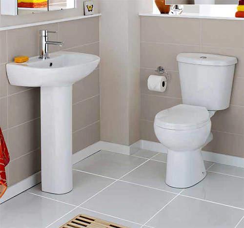 Premier Brisbane Bathroom Suite With Toilet, Basin & Ped (1 Tap Hole).