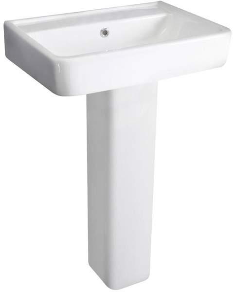 Hudson Reed Ceramics Basin & Full Pedestal (1 Tap Hole, 520mm).