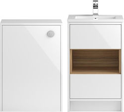 HR Coast 500mm Vanity Unit With 600mm WC Unit & Basin 1 (White).