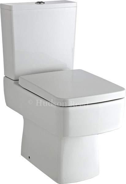 Hudson Reed Ceramics Square Toilet With Dual Push Flush & Top Fix Seat.