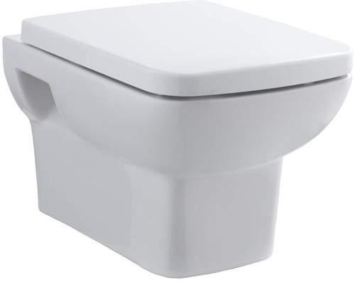 Hudson Reed Ceramics Square Wall Hung Toilet Pan With Soft Close Seat.