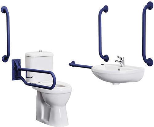 Premier DocM Complete DocM Pack With Toilet, Basin, Tap & Blue Rails.