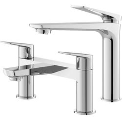 HR Drift Tall Basin & Bath Filler Tap Pack (Chrome).