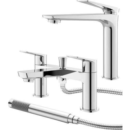 HR Drift Tall Basin & Bath Shower Mixer Tap Pack (Chrome).