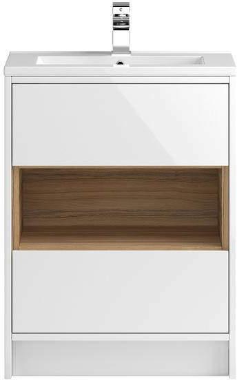 HR Coast Floor Standing 600mm Vanity Unit & Basin Type 2 (White Gloss).