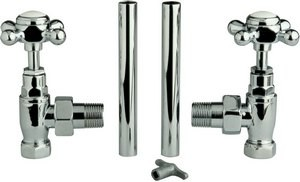 Towel Rails Cross top traditional radiator valves (pair, chrome)