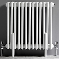Ultra Colosseum 3 Column Radiator With Legs (White). 606x600mm.
