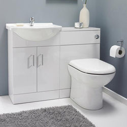 Italia Furniture Vanity Pack With Pan & Curved Basin 1050mm (LH, White).