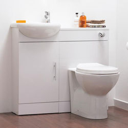Italia Furniture Vanity Pack With Pan, Cistern, Tap & Basin 920mm (LH, White).