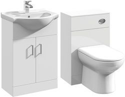 Italia Furniture 550mm Vanity Unit With Basin Type 1 & 500mm WC Unit (White).