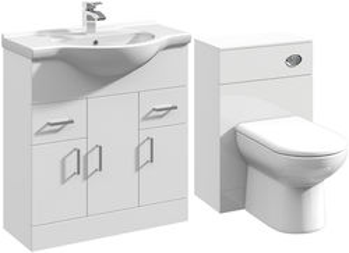 Italia Furniture 750mm Vanity Unit With Basin Type 1 & 500mm WC Unit (White).