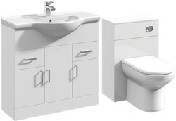 Italia Furniture 850mm Vanity Unit With Basin Type 1 & 500mm WC Unit (White).