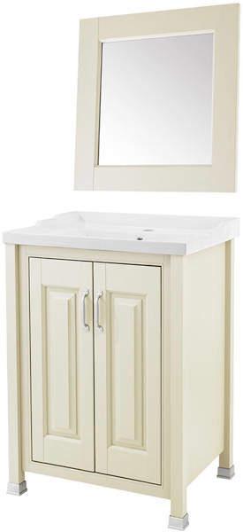 Old London Furniture 600mm Vanity & 600mm Mirror Pack (Ivory).