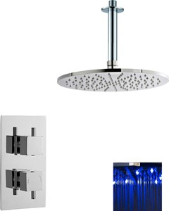 Premier Showers Twin Thermostatic Shower Valve With Large LED Round Head.