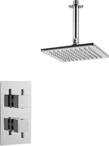 Premier Showers Twin Thermostatic Shower Valve With Head & Arm (Chrome).