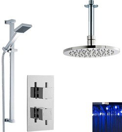 Premier Showers Twin Thermostatic Shower Valve With LED Head & Slide Rail.