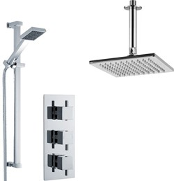 Premier Showers Triple Thermostatic Shower Valve With Head & Slide Rail Kit.