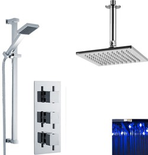 Premier Showers Triple Thermostatic Shower Valve, LED Head & Slide Rail Kit.