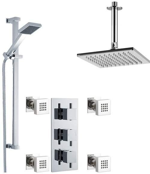 Premier Showers Triple Shower Valve With Head & Slide Rail Kit & Body Jets.