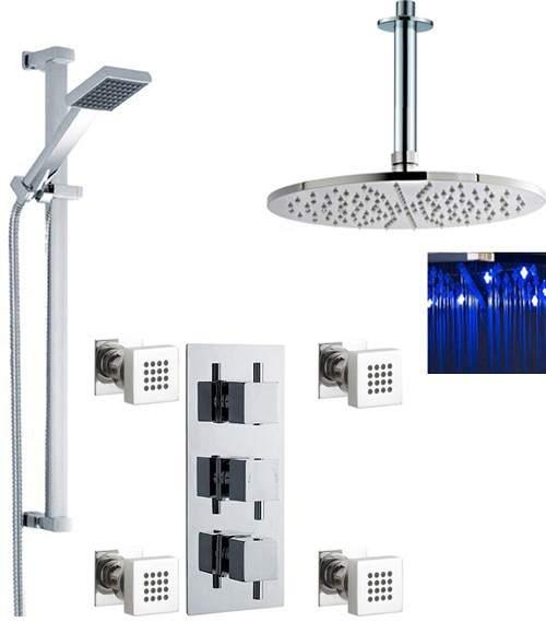 Premier Showers Triple Shower Valve, LED Head & Slide Rail Kit & Body Jets.