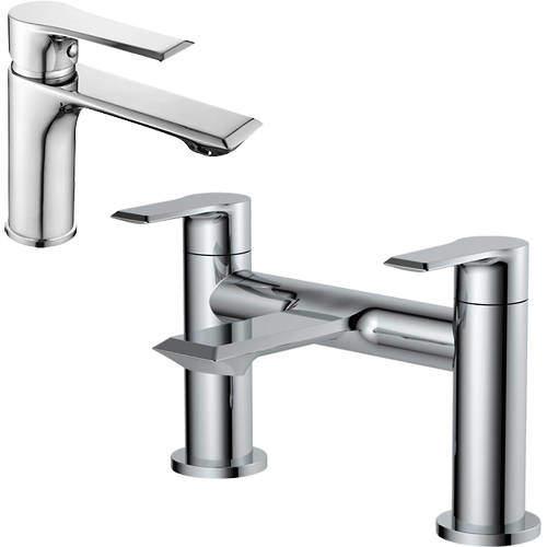 Nuie Limit Basin & Bath Filler Tap Pack (Chrome).