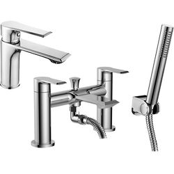 Nuie Limit Basin & Bath Shower Mixer Tap Pack With Kit (Chrome).