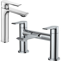 Nuie Limit Tall Basin & Bath Filler Tap Pack (Chrome).