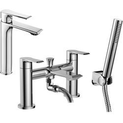 Nuie Limit Tall Basin & Bath Shower Mixer Tap Pack With Kit (Chrome).