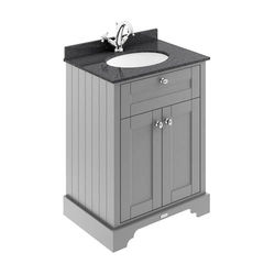 Old London Furniture Vanity Unit, Basin & Black Marble 600mm (Grey, 1TH).