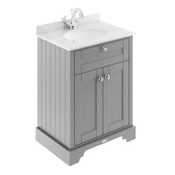 Old London Furniture Vanity Unit, Basin & White Marble 600mm (Grey, 1TH).