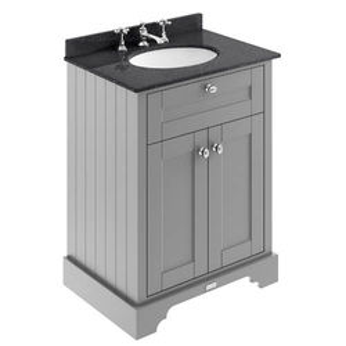 Old London Furniture Vanity Unit, Basin & Black Marble 600mm (Grey, 3TH).