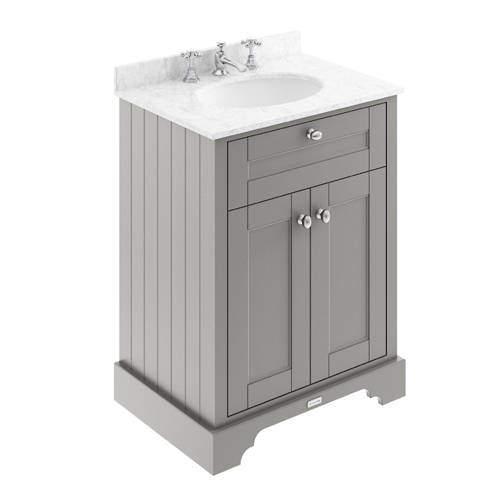 Old London Furniture Vanity Unit, Basin & Grey Marble 600mm (Grey, 3TH).