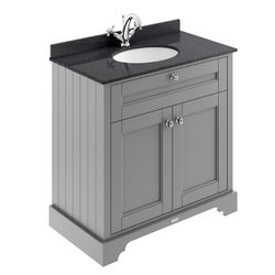 Old London Furniture Vanity Unit, Basin & Black Marble 800mm (Grey, 1TH).