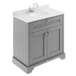 Old London Furniture Vanity Unit, Basin & White Marble 800mm (Grey, 1TH).