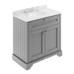 Old London Furniture Vanity Unit, Basin & White Marble 800mm (Grey, 3TH).